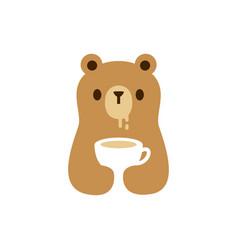 Bear cub drink cup logo icon vector