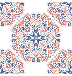 blue and orange ornamental seamless pattern vector image