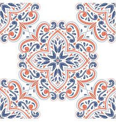 Blue and orange ornamental seamless pattern vector