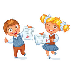 Boys and girls showing perfect test results vector