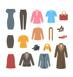 business woman basic clothes and shoes collection vector image