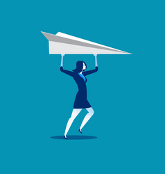 businesswoman and paper airplanes concept vector image