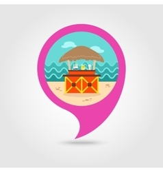 Cafe Bar bungalows on the beach pin map icon vector