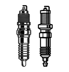 car spark plugs in engraving style design element vector image
