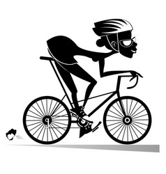Cartoon woman rides a bike isolated vector