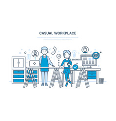 Casual workplace interior of room and workplace vector