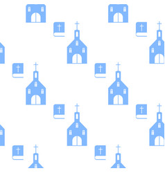 christian seamless pattern with church and bible vector image