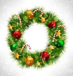 Christmas wreath with adornments on grayscale vector image