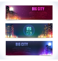 City at night horizontal banners vector image