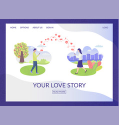 city park people in love characters and social vector image