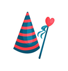 Colorful icon of striped cone hat and heart on vector