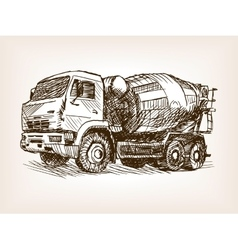 Concrete mixer truck hand drawn sketch vector image