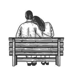 Couple on bench sketch vector