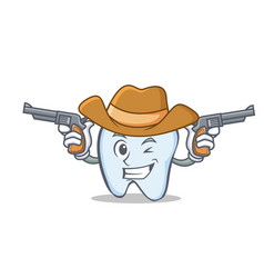 Cowboy tooth character cartoon style vector