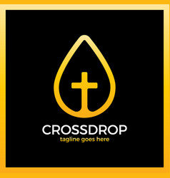 cross drop logo - christ blood vector image