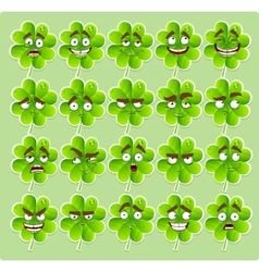Cute cartoon four-leaf clover with many vector