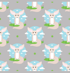 Cute fennec fox abstract seamless pattern vector