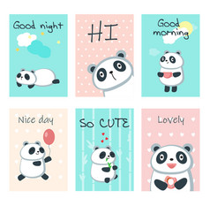 Cute panda cards template set vector