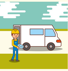 delivery service courier man holding an envelope vector image