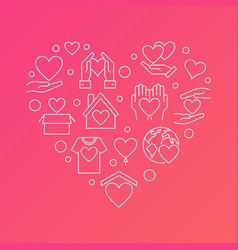Donation outline heart charity modern vector