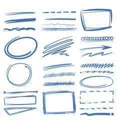 Doodle highlighter elements sketch circles vector