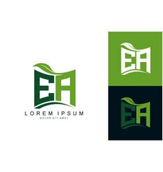 Ea logo monogram with green leaf nature organic vector