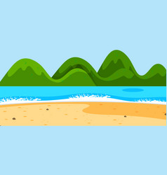 empty beach landscape scene with mountains vector image