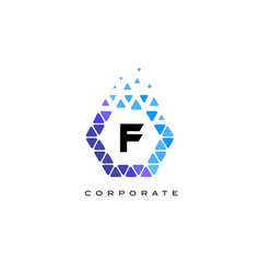 f blue hexagon letter logo with triangles vector image