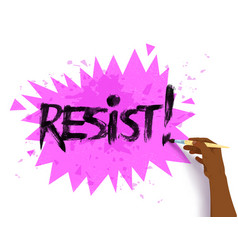 female hand drawing resist lettering vector image