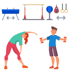 fitness people gym sporty club icons athlet vector image