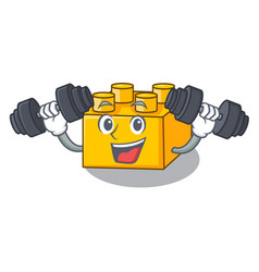 Fitness plastic building blocks cartoon on toy vector