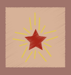 Flat shading style icon star shines vector