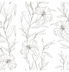 Floral seamless pattern with gentle lily flowers vector