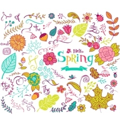 Floral spring design elements in doodle style vector image