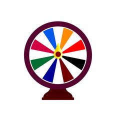 Fortune wheel logo online gambling emblem casino vector