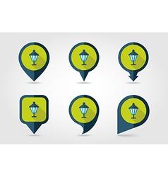 Garden lantern flat pin map icon vector