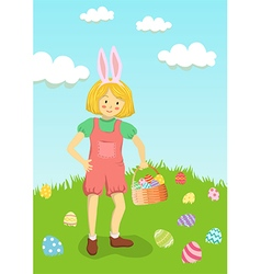 Girl Hunt Easter Egg in Garden vector image