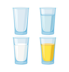 glass water juice and milk and empty set vector image