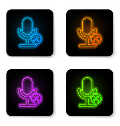 glowing neon microphone with screwdriver and vector image