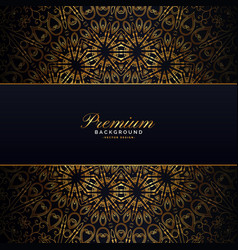 Gold mandala on dark backgorund design vector