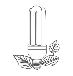 Grayscale contour with fluorescent bulb and leaves vector