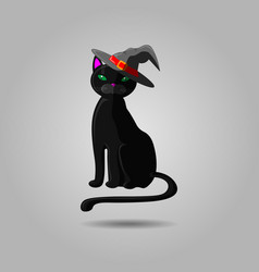 halloween black cat in witch hat animal isolated vector image