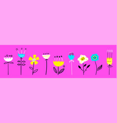hand drawn floral elements abstract flowers vector image