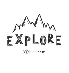 Hand drawn mountains sketch vector