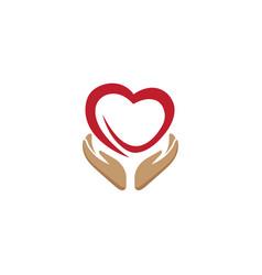 Hands and heart caring human health logo vector