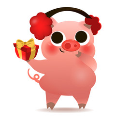 happy chinese new year of pig greeting card vector image