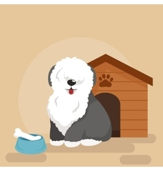 Happy dog kennel house with bone and bowl food vector