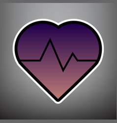 Heartbeat sign violet vector