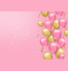 hyper realistic baloons background love card with vector image