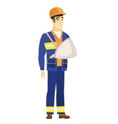injured builder with broken arm vector image